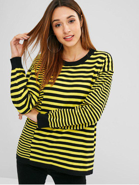 new Two Tone Striped Knitted Top - YELLOW ONE SIZE