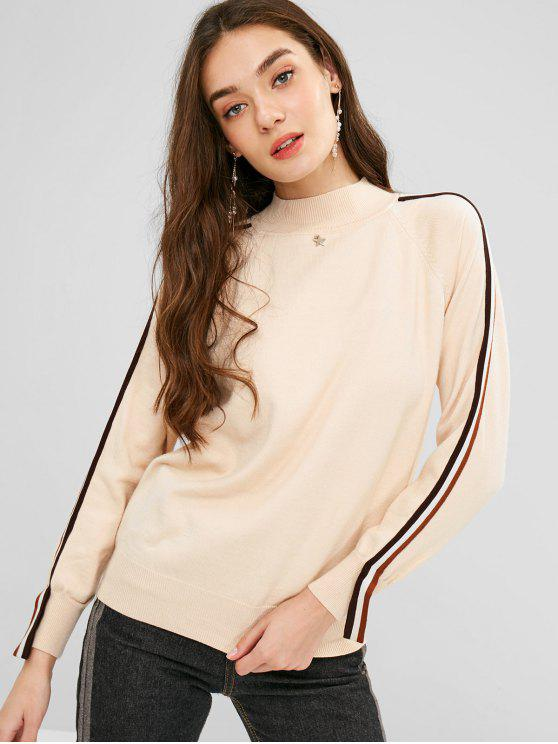 hot Side Striped Raglan Sleeves Knitwear - CORNSILK ONE SIZE