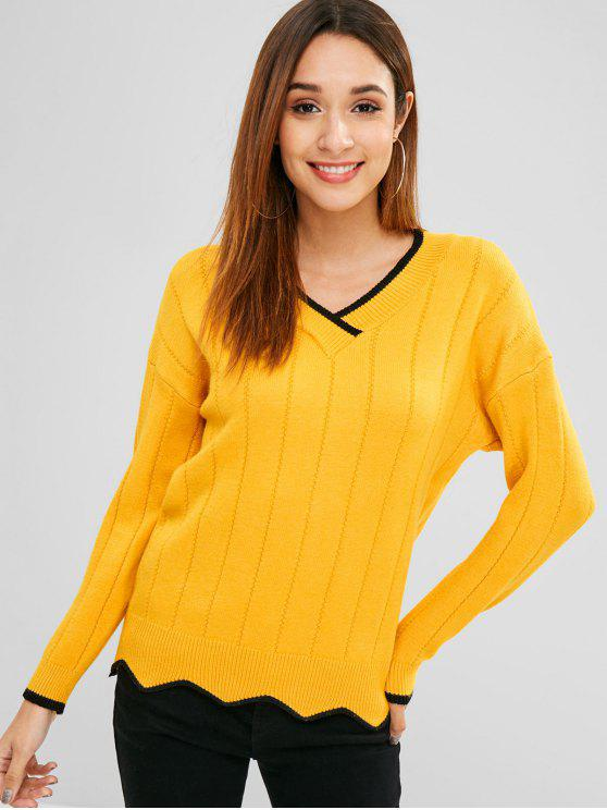 latest Drop Shoulder Contrast Trim Sweater - BRIGHT YELLOW ONE SIZE