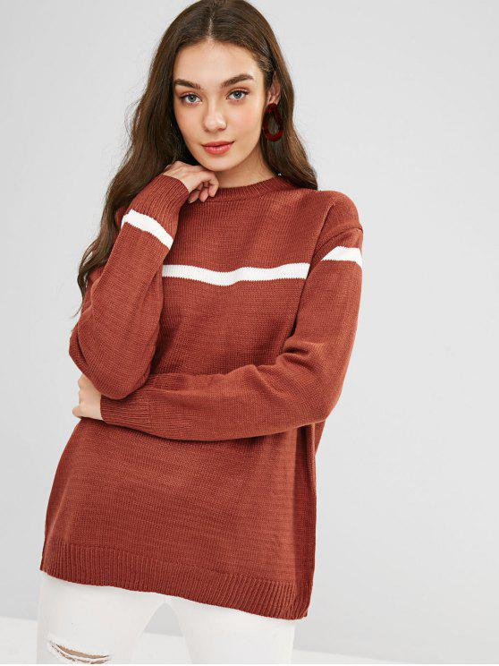 fashion Loose Fit Striped Longline Sweater - MAHOGANY ONE SIZE