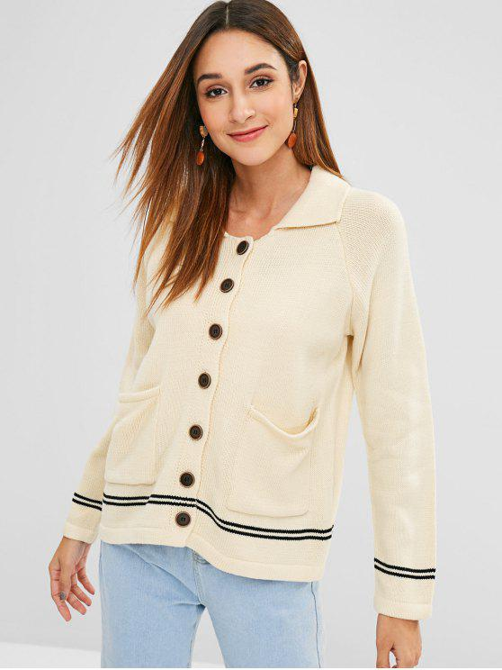 outfit Raglan Sleeves Buttoned Striped Cardigan - WARM WHITE ONE SIZE