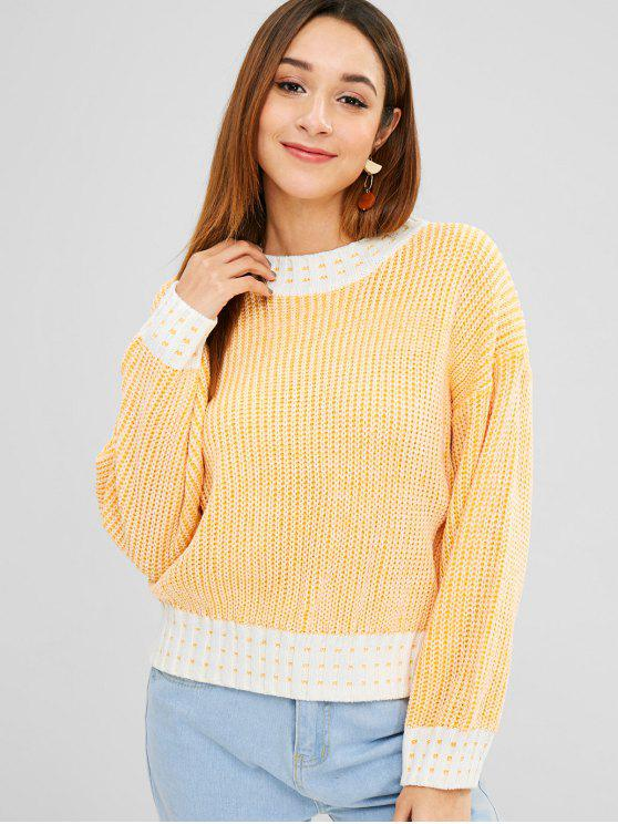 best Crew Neck Contrast Loose Sweater - BRIGHT YELLOW ONE SIZE