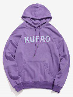 Front Pocket Letter Embroidery Hoodie - Tyrian Purple M
