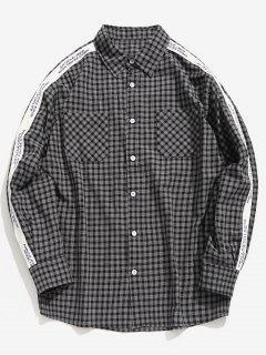 Side Letter Stripe Patchwork Plaid Shirt - Black M