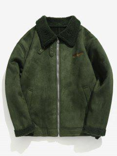 Solid Full Zip Suede Jacket - Army Green L