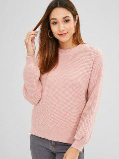 Side Slit Knit Drop Shoulder Sweater - Pink