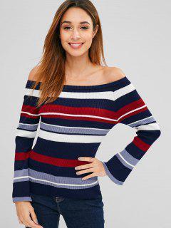 Flare Ärmel Streifen Schulterfrei Pullover - Multi