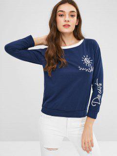 Bordado En Contraste De La Camiseta Del Ajuste - Azul De Medianoche L