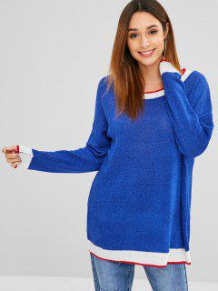 Pullover Stripes Oversized Sweater - Blue
