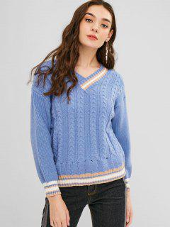 Cable Knit Striped Trim Sweater - Sky Blue