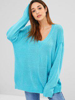 Low Cut Oversized Tunika Pullover - Celeste