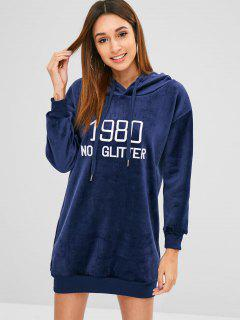 Longline Embroidered Velvet Hoodie - Midnight Blue L