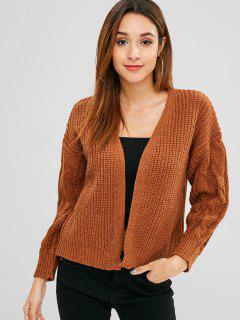 Cable Knit Open Front Chunky Cardigan - Light Brown
