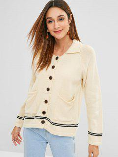 Raglan Sleeves Buttoned Striped Cardigan - Warm White