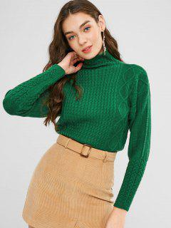 Caída De Hombro Cable De Punto Suéter - Verde Oscuro