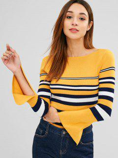 Slit Flare Sleeve Stripes Sweater - Bee Yellow