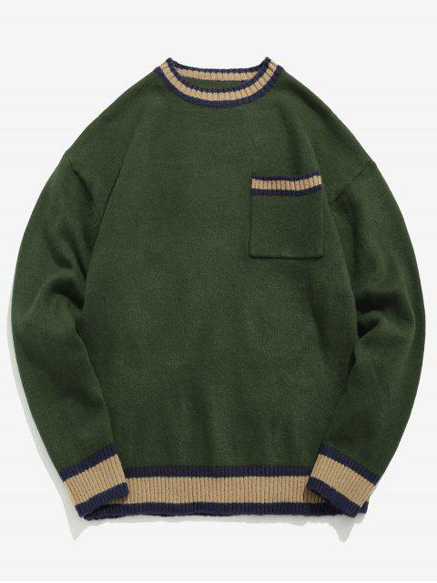 online Striped Letter Embroidery Sweater - ARMY GREEN M Mobile