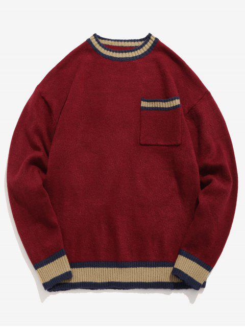 new Striped Letter Embroidery Sweater - RED WINE M Mobile