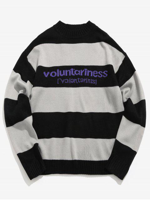 lady Color Block Stripes Pullover - BLACK L Mobile