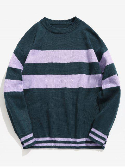 best Letter Striped Pullover Knit Sweater - MEDIUM SEA GREEN M Mobile