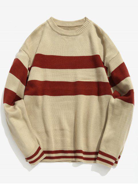 new Letter Striped Pullover Knit Sweater - KHAKI L Mobile