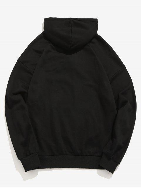 sale Front Pocket Letter Embroidery Hoodie - BLACK XL Mobile