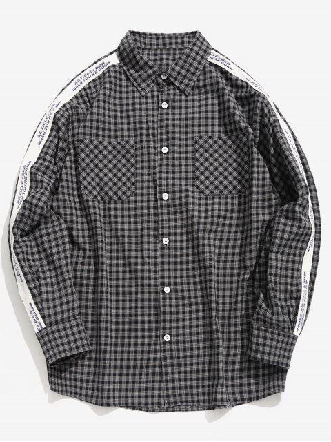 outfits Side Letter Stripe Patchwork Plaid Shirt - BLACK L Mobile