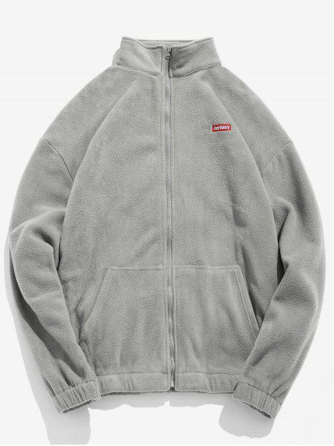 hot Embroidery Fleece Jacket - GRAY CLOUD XL Mobile