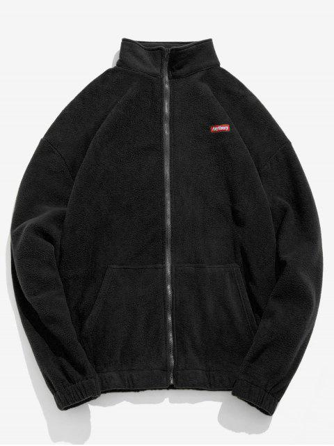 outfit Embroidery Fleece Jacket - BLACK XL Mobile