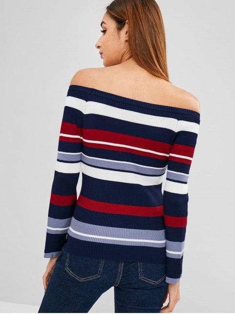womens Flare Sleeve Stripes Off Shoulder Sweater - MULTI ONE SIZE Mobile