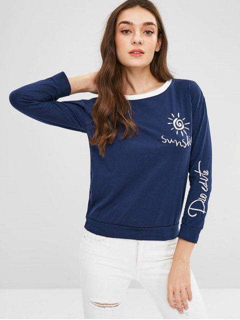 best Embroidery Contrast Trim Tee - MIDNIGHT BLUE L Mobile