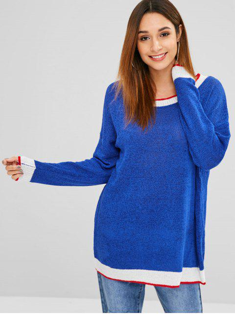 women Pullover Stripes Oversized Sweater - BLUE ONE SIZE Mobile