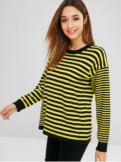 new Two Tone Striped Knitted Top - YELLOW ONE SIZE Mobile