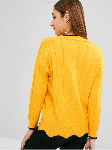 latest Drop Shoulder Contrast Trim Sweater - BRIGHT YELLOW ONE SIZE Mobile