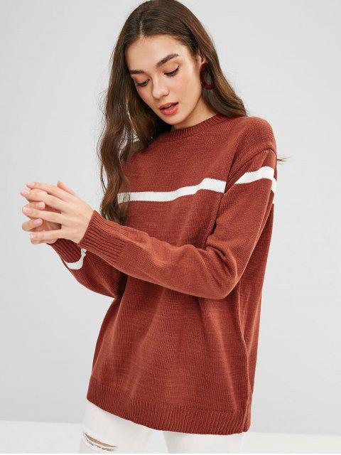 fashion Loose Fit Striped Longline Sweater - MAHOGANY ONE SIZE Mobile