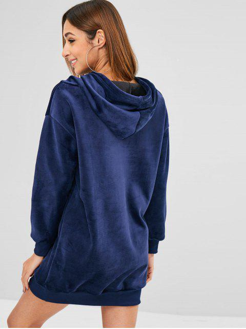 lady Longline Embroidered Velvet Hoodie - MIDNIGHT BLUE L Mobile
