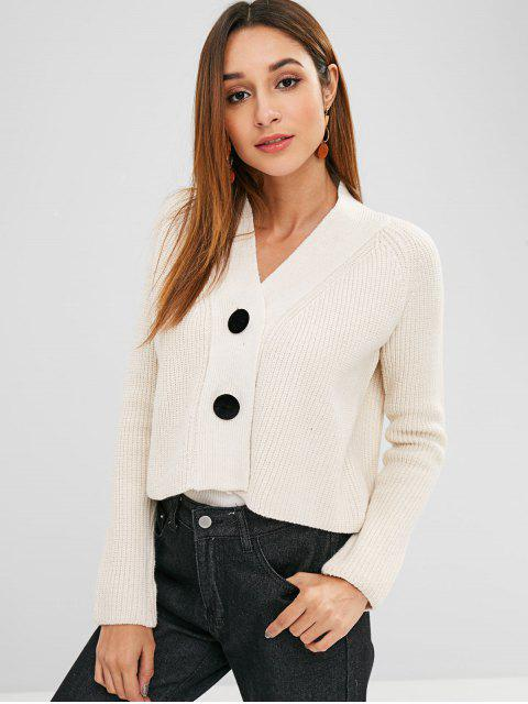 hot Button Up Plain Crop Cardigan - WARM WHITE ONE SIZE Mobile