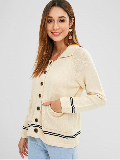 outfit Raglan Sleeves Buttoned Striped Cardigan - WARM WHITE ONE SIZE Mobile