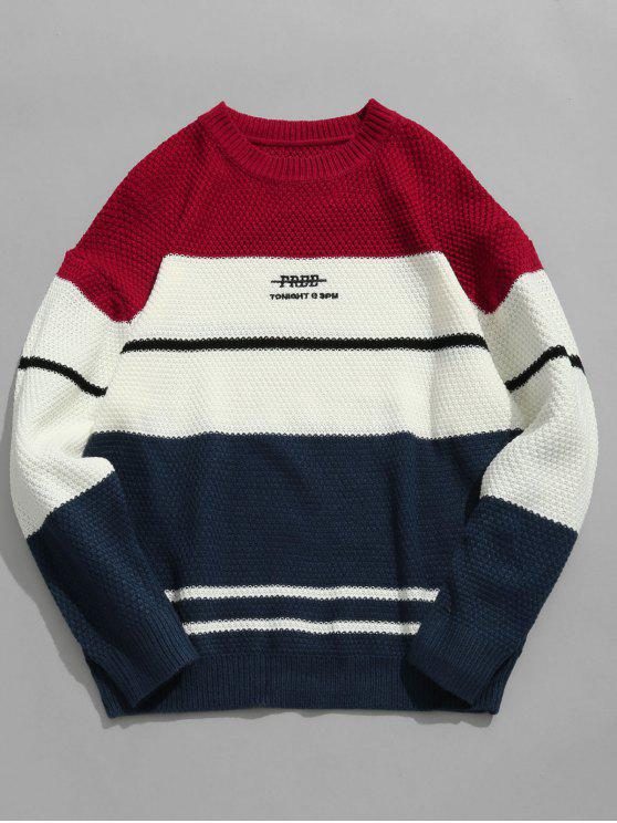 outfit Color Block Letter Knit Sweater - RED L