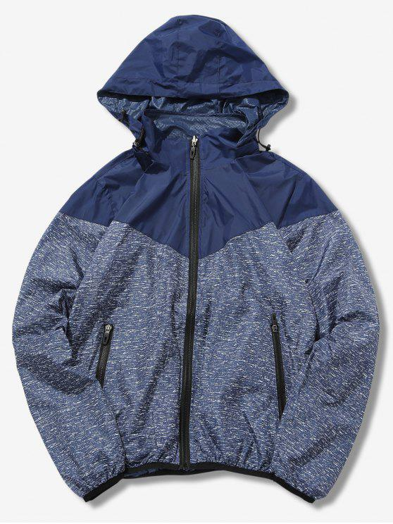 chic Detachable Hat Splicing Design Reversible Jacket - DEEP BLUE XS