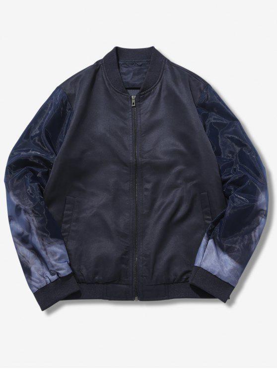shop Double Layers Sleeve Print Jacket - BLACK XS