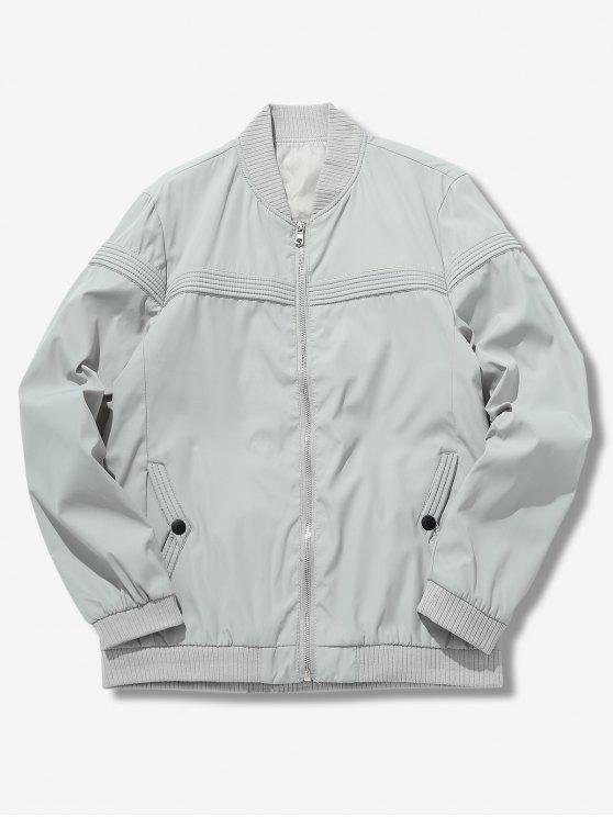 shops Solid Color Splicing Jacket - LIGHT GRAY XS