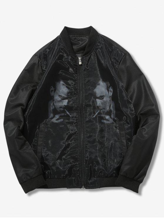 sale Symmetrical Image Pattern Print Jacket - BLACK S