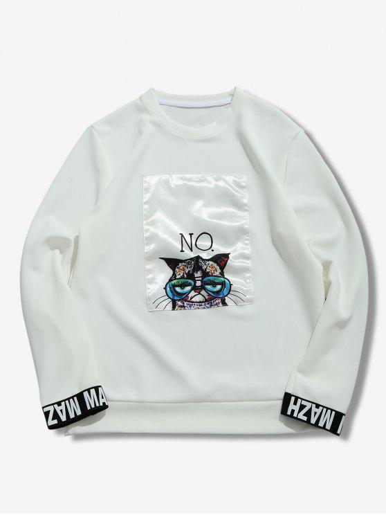 womens Cartoon Cat Print Patchwork Sweatshirt - WHITE XL