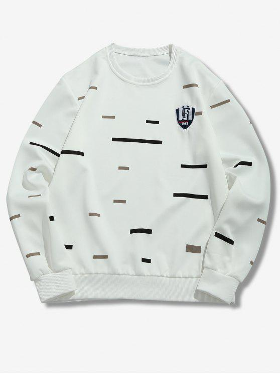 new Colorful Stripes Print Embroidery Sweatshirt - WHITE M