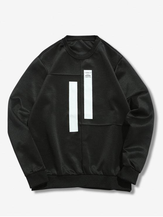 outfit Splicing Stripes Embellished Sweatshirt - BLACK M