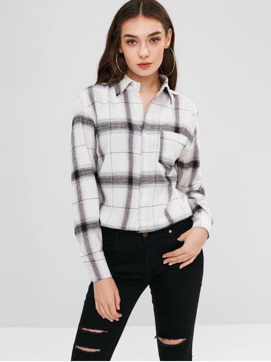 chic Plaid Pocket Longline Shirt - MULTI ONE SIZE