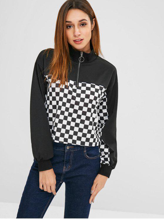 online Half-zip Checkered Sweatshirt - BLACK S