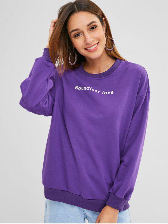 outfit Drop Shoulder Graphic Sweatshirt - VIOLET ONE SIZE