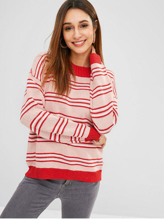 outfits Loose Fit Striped Multicolor Sweater - MULTI ONE SIZE